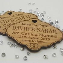 wedding photo - Personalised Engraved Rustic Oak Wooden Save The Date Fridge Magnets Invites