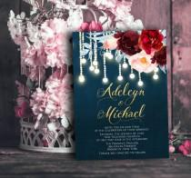 wedding photo - Navy blue Marsala Wedding Invitation printable - wedding invitation set, elegant wedding invitation, string lights wedding