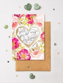 wedding photo - Bridesmaid Proposal Scratch Off Card Heart Floral No. 2