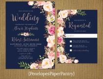 wedding photo - Romantic Navy Summer Wedding Invitation,Blush,Pink,Roses,Rose Gold,Shimmery,Elegant,Printed Invitation,Wedding Set,Optional RSVP Card