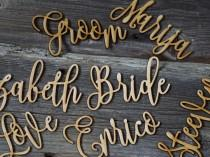 wedding photo - 10 Laser cut wood names Custom Laser Cut Name signs wedding place cards Lasercut wood