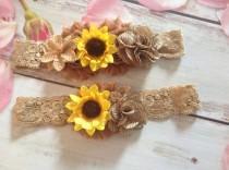wedding photo - Sunflower burlap country rustic garter set-Plus size garter-Farm wedding,country wedding,bride,lace garter