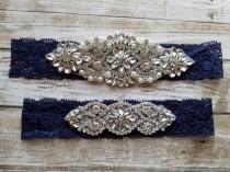 wedding photo - Sale -Wedding Garter and Toss Garter-Crystal Rhinestone - Navy Blue Garter Set - Style G37000CR