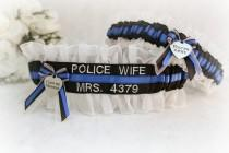 wedding photo - Police Badge Number Wedding Garters  - Personalized Police Wedding Garters  - Police Blue Line Bridal Garter Set - Something Blue Garters.