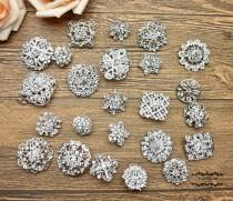 wedding photo - 24 PCs Rhinestone Brooch Lot Silver Pin Mixed Wholesale Crystal Wedding Bouquet Bridal Button Embellishment Hair Cake Shoe DIY Kit Set