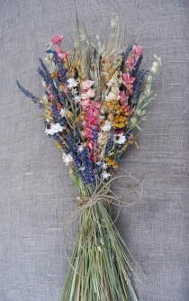 wedding photo - Warm Summer Wildflower  Pink and Yellow Wedding  Brides Bouquet of  Lavender Larkspur Dried Flowers
