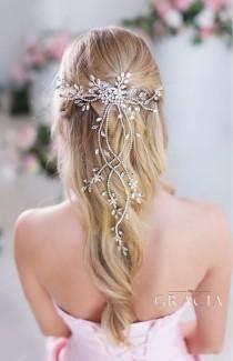 wedding photo - DIANTHE Crystal Wedding Hair Vine With Leaf Bridal Hair Comb