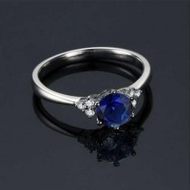 wedding photo - Round Cut Blue Sapphire Engagement Ring 14k White Gold Art Deco Natural Blue Sapphire Ring September Birthstone Anniversary Ring