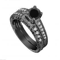 wedding photo - Black Diamonds Engagement Ring Set, Vintage Engagement Ring Sets, Wedding Anniversary Sets, 1.32 Carat 14K Black Gold Certified Handmade