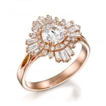 wedding photo - Moissanite Engagement Ring Forever One Ring Baguette Diamond Ring Unique Ring Rose Gold Ring Alternative Ring Vintage Ring 18k Gold Ring