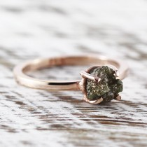 wedding photo - Rose Gold Ring Engagement Ring Green Diamond Ring Uncut Diamond Ring Rose Gold Wedding Ring Rose Gold Rings Raw Green Diamond Gold Ring