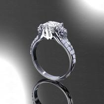 wedding photo - Eternal - Princess Cut White/Rose Gold Final Fantasy Inspired Ring - Choose your metal