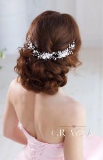 wedding photo - AGLAIA White Or Ivory Bridal Headpiece With Gentle Handmade Flowers