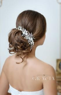 wedding photo - ADONI White Ivory Flower Hairpiece For Wedding With Crystals