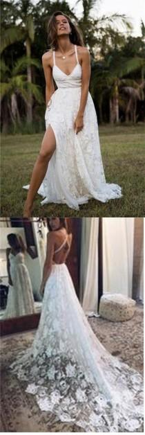 wedding photo - Charming Lace Long A-line Spaghetti Straps Ivory V-Neck Beach Wedding Dress UK PH416