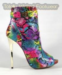 "wedding photo - Aramarys Pink Rainbow Snake Ankle Boots - 4.75"" Heels"