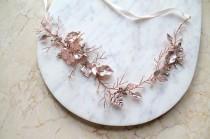 wedding photo - Rose gold Leaf Vine Bridal Sash. Blush Boho Delicate Crystal Wedding Dress Belt. Rhinestone Pearl Pink Floral Belt. BEA