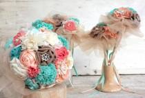 wedding photo - Wedding bouquet set, bridal bouquet, bridesmaids bouquet, coral aqua bouquet deposit