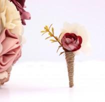 wedding photo - Lapel pin, plum boutonniere, man wedding brooch, prom boutonniere, man buttonhole, groom boutonniere, fabric boutonniere