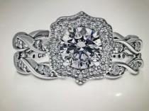 wedding photo - Milgraine Art Deco 1CT Round Cut Russian Lab Diamond Bridal Set