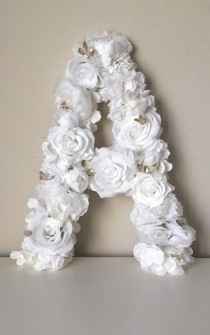 wedding photo - White Floral Letter, White Flower Decor, White Wedding Flower Decor, Flower Letter, White And Cream Decor, White And Gold Theme, White Wall