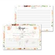 wedding photo - Floral Watercolor Recipe Cards Gift Set