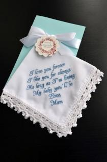 wedding photo - Wedding gift for Bride from Her Mom For daughter from mother Something Blue for Bride hankerchief Personalized Bride gift from Mom daughter