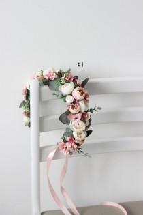 wedding photo - Blush pink eucalyptus flower crown Floral halo Wedding hair wreath Bridal headpiaece Flower girl Maternity crown Bridesmaid crown Boho