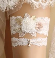 wedding photo - wedding garter set, bridal garter set, lace garter set, Ivory garter set, crystal garter, toss garter, rhinestone garter,handmade garter