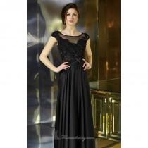 wedding photo - Black Beaded Bateau Neckline Gown by Alyce Jean De Lys - Color Your Classy Wardrobe
