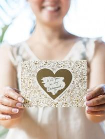 wedding photo - Floral No. 8 - Will You Be My Bridesmaid Scratch Off Card Heart Gold