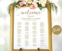 wedding photo - Gold Wedding Seating Chart Template, Wedding Seating Chart Poster, Elegant Gold Seating Chart, Editable, Modern Calligraphy, VW10GOLD