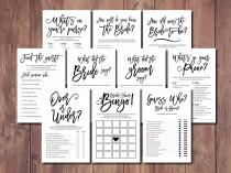wedding photo - Bridal Shower Bundle, Bridal Shower Game Kit, Popular Bridal Shower Games, Printable Bridal Shower, Black and White Bridal Shower, Gillaspie