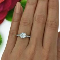 wedding photo - 1 ctw Classic Halo Promise Ring, Half Eternity Bridal Ring, Princess Cut Man Made Diamond Simulants, Engagement Ring, Sterling Silver