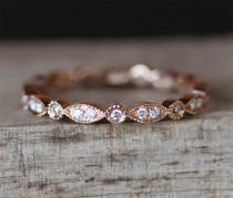 wedding photo - Art Deco Full Eternity Pave Diamonds Ring Vintage Wedding Band Milgrain Bezel Ring Stackable Match Ring 14K Rose Gold Ring Bridal Ring