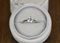 wedding photo - Brilliant Round Solitaire Engagement Ring in 14k White Gold, 1ct Round Cut Flower Basket, Wedding Ring,Sapphire,Moissanite Ring by Sapheena