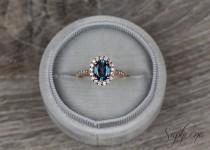 wedding photo - Blue Topaz Engagement Ring in 14k Rose Gold, 8x6mm Oval Cut Topaz Diamond Wedding Ring, November Birthstone Ring,Bridal Ring by Sapheena