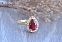 wedding photo - Red Ruby Pear Engagement Ring in 14k Yellow Gold, 9x6mm Pear Cut, July Birthstone Ring, Moissanite Bridal Ring,Ruby Diamond Ring by Sapheena