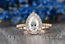 wedding photo - Pear Halo Moissanite Engagement Ring in 14k Rose Gold, 9x6mm Pear Cut Moissanite Wedding Ring, Moissanite Diamond Bridal Ring by Sapheena