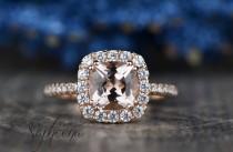 wedding photo - Brilliant Morganite Cushion Halo Engagement Ring in 14k Rose Gold, 7x7mm Cushion Gemstone Wedding Ring,Diamond Bridal Ring by Sapheena