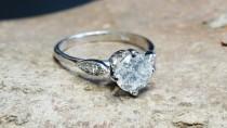 wedding photo - ON SALE!!! 1 ct Diamond Engagement Ring-White Gold Engagement Ring-Cluster engagement ring-Promise ring-Bridal ring-Art deco engagement ring