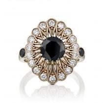 wedding photo - Vintage Engagement Ring, Black Diamond Engagement Ring, 14k White Gold Ring Without Rodium, Antique Ring, Art Deco Ring