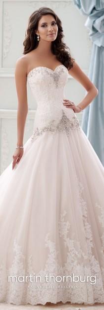 wedding photo - Beaded Dropped-Waist Taffeta Ball Gown Wedding Dress- 115228 Ocean