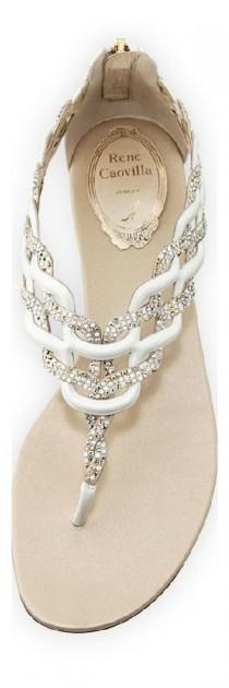 wedding photo - RENÉ CAOVILLA Swarovski Crystal-Embellished Flets And Sandals
