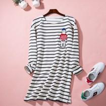 wedding photo - Oversized Embroidery Stripped Summer Long Sleeves Top T-shirt - Lafannie Fashion Shop