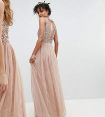 wedding photo - Maya Sleeveless Sequin Bodice Tulle Detail Maxi Bridesmaid Dress With Cutout Back