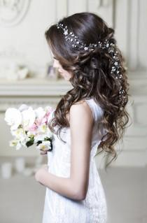 wedding photo - Bridal hair vine Long hair vine Wedding hair vine Flower hair vine Wedding headpiece Pearl hair vine Bridal hairpiece Crystal hair vine