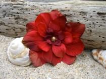 wedding photo - Hair Flower Clip,Bohemian Hair Flower,Red Hair Flower,Rustic Wedding,Bridesmaid Hair Accessories,Romantic Wedding,Floral Hair Clip