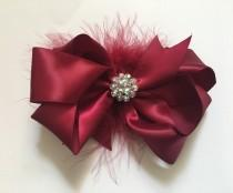 wedding photo - Burgundy Red Wine Hair Bow, Satin Pearl Rhinestone Marabou Hair Bow, Flower Girl Bridal Hair Bows, Maroon Satin Hair Bow. Triple Hair Bow
