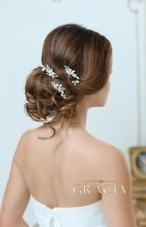 wedding photo - KALYPSO Flower Bridal Hair Pins With Crystals Rhinestone Wedding Headpiece